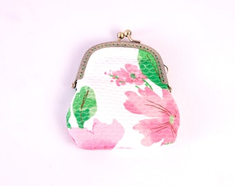Pink Floral Coin Purse - handsewn hand sewn womens mens unisex flowery flowers green silk lining white handmade by The Emperor's Old Clothes