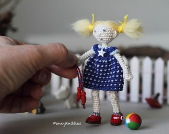 July 4th miniature fancy doll americana crochet doll amigurumi stars and stripes dress blond doll collectable blue white red independence