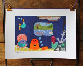 Ocean print - underwater print for nursery or bookshelves - sea A4 print