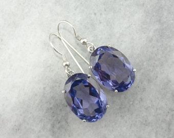 Synthetic Alexandrite Earrings in Sterling Silver - Bold Look  N5XDXF-N
