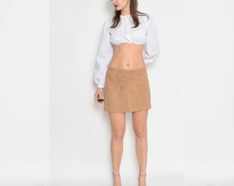 Vintage 90's Tan Suede Leather Mini Skirt