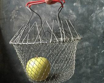 Metal Wire Mesh Egg Basket | Vintage Collapsible Wire Basket | Rustic French Country | Farmhouse Kitchen Decor | Cottage Chic | Pantry