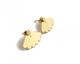 """Ear cuff Ear jacket Stud underneath """"Louise"""" brass gilded with gold fine sold individually or as a pair."""