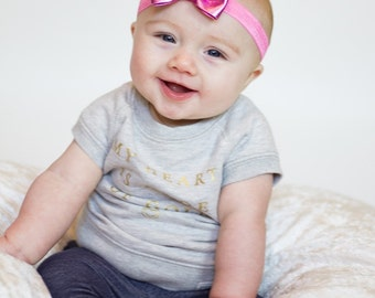 Pink Bow Headband, Pink Headband, Pink Bow, Metallic Pink Headband, Light Pink Bow Headband, Newborn Photo Prop, Pink Flower Girl Headband