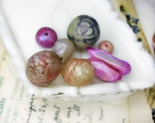 SALE Polymer Clay Beads -  8 Rustic Beads - Pearl & Pink Iridescence - Focal and Spacers - Bright Lilac, Cream - Appliques - Faux Quartz