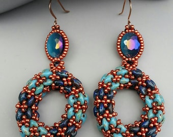 Red, Blue and Turqoise statement earrings