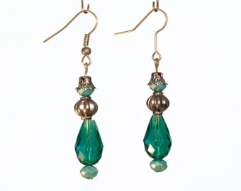 Teal and Silver Teardrop Earrings