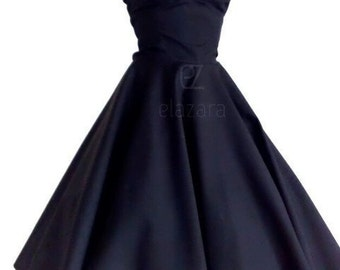50s prom dress in black, petticoat dress, wedding dress, festive petticoat dress, prom dress, Rockabilly wedding dress-F8