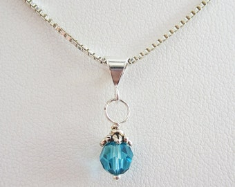 Pacific Blue 6mm Swarovski Crystal Pendant Charm and Necklace