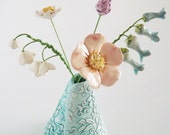 Ceramic English Country Garden Flowers in a textured vase all hand crafted pottery