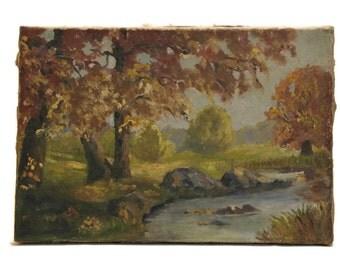 Autumn Painting. Antique Landscape Painting with River. Original Art French Impressionist Landscape.