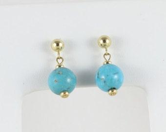 14k Yellow Gold Turquoise Earrings Dangle Drop Earrings Bead Earrings