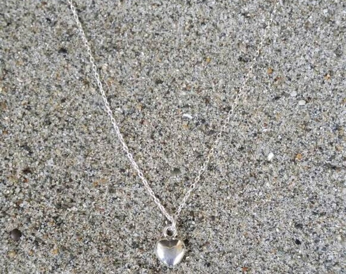 Tiny Sterling Silver Heart Necklace, Puffed Heart, Tiny Heart, Silver Heart Necklace, Sterling Silver