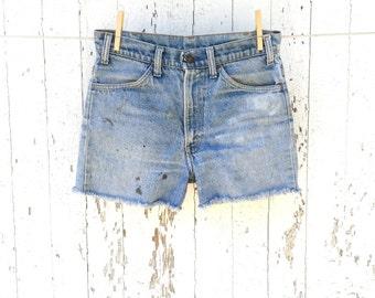 High Waist LEVIS Shorts 28 Waist Cut Off Denim Shorts