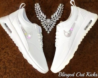 Women's Nike Air Max Thea Premium in Pure Light White w/Swarovski Crystals - Custom Nikes - Custom Shoes - Bling Nikes - Nike Thea - Nikes