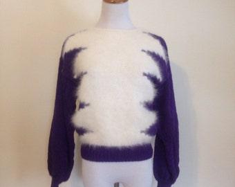 Vintage 1980's Purple and White Fuzzy Zig Zag Sweater - small, lightning bolt, punk