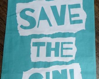 God save the Gin tea towel - FREE POSTAGE