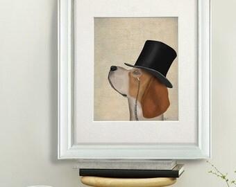 Mens Gift - Formal Beagle dog - dog with hat beagle picture gift for boyfriend Dog Home Decor funny dog gift uk seller only uk shop