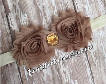 CLEARANCE Light Brown Flower Headband, Brown and Cream Elastic Headband, Baby Headband, Toddler Headband, Girls Hair Bow, Fall Bow