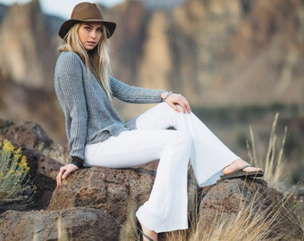 WHITE CHALET SWEATER ribbed knit pants! fall fashion winter style bell bottom boho yoga gypsy hippie chic flare pants