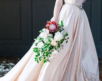Amond | Peach Quinceanera wedding dress Gentle wedding dress Bohemian wedding dress classic wedding dress Plus size Wedding dress taffeta