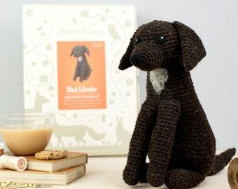 Black Labrador Crochet Kit - Amigurumi Crochet Labrador Kit - craft set gift - crochet labrador project - labrador craft kit for adults