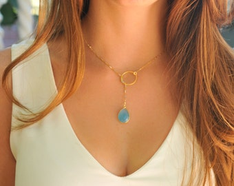 Blue Chalcedony necklace, blue chalcedony Lariat Necklace, Infinity Lariat Necklace, lariat necklace , gemstone necklace, RINECK084