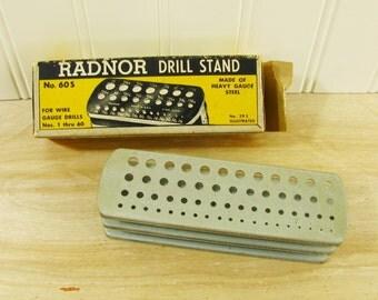 Vintage Drill Bit Holder With Box Drill Bit Stand Radnor Drill Stand Gauge 1 through 60 NOS Drill Accessories