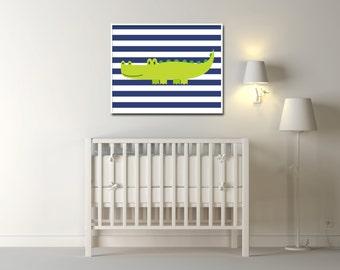 Alligator wall art Baby Boy Alligator Nursery Art Crocodile wall art Baby Boys Navy Blue and Green Nursery - Custom Color - N279- Unframed