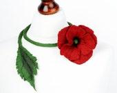 Felt poppy necklace - romantic jewelry with red poppy - red flower necklace - floral jewelry - long felted necklace - flower neckwear [N25]