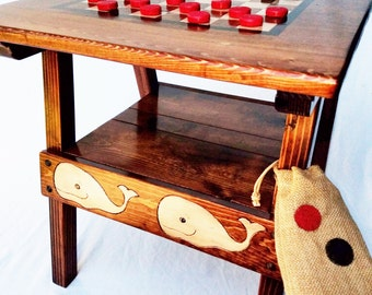 Nautical Checkers Game / Activity Table, Outdoor Wood Furniture Home, Garden, Beach, Painted Reclaimed Wood, Handcrafted Folk Art
