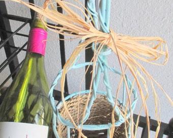 Metal Handled Wine Carrier Basket - Painted Mediterranean Blue