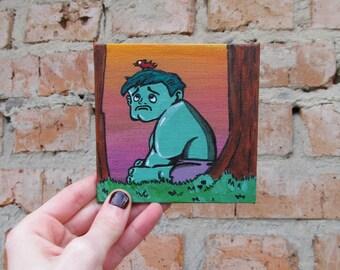 HULK wall art - Hulk painting - comic art - marvel canvas - superhero art - geek gift - comic painting - 4x4 canvas  - JelllyFishHandmade