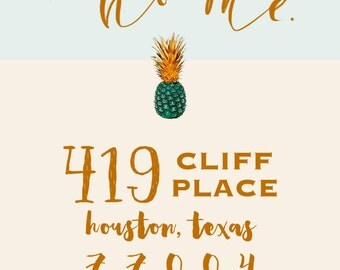 Printable Moving Announcement- Custom- Hand calligraphy-Pineapple-Ikat print back- We've Moved- Blue & cream-printing services available