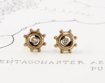 Diamond Stud Earrings, 14k Yellow Gold Minimal Studs Ships Wheel Helm Nautical Sailing Bridal Bridesmaid Girlfriend Anniversary Gift Jewelry