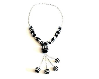 Authentic Vintage French Rhodoid/Cellulose Acetate Necklace/Sautoir 1980's