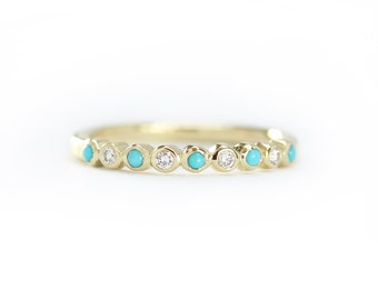 Turquoise with Diamond Half Eternity Wedding Ring, 14k Solid Gold Ring,Stackable Simple Ring,Diamond Engagement Ring,Multistone Wedding Ring