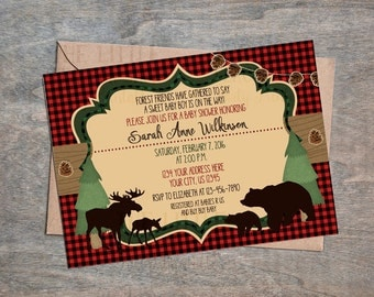 Woodland Baby Shower Forest Friends Northwoods collection inspired Digital Printable invitation! Bear Moose Buffalo Plaid Lodge