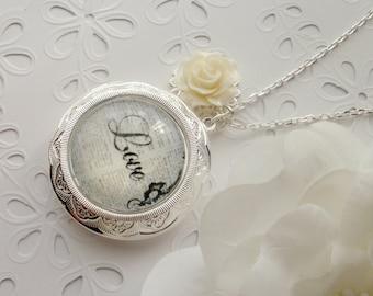 White Rose Love Locket Necklace, LOVE Silver Locket Necklace, White Rose, Valentine's, Mother's Day, Wedding, Bridesmaids, Birthday Gift