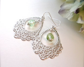 Silver Lace Filigree Earrings, Peridot Swarovski Crystal  Earrings, Green Earrings, Silver Filigree Earrings, Boho Earrings, Gift for Her