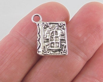 5 Book charms, 17x11mm, antique silver finish
