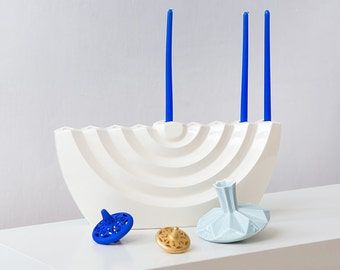 Modern Hanukkah Menorah,Contemporary Judaica gift,Chanukah candelabra ,ceramic Chanukia,hanukkah decorations,Jewish wedding gift