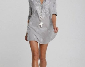 Grey Beach Kaftan / Caftan, Beach Cover Up with Hand-Embroidery