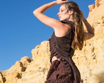 Steampunk Burlesque Vest (Brown) - Gypsy Festival Boho Style Corset Vest Back Burlesque Waistcoat Steampunk Top Vest