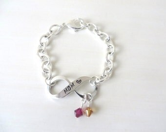 MOM Infinity Hand-Stamped Bracelet With Optional Crystal Charm and Angel Wing Charm