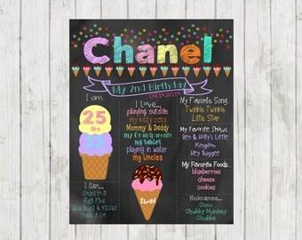 Printable Ice Cream Birthday Chalkboard, 2nd Birthday Chalkboard Sign, Birthday Chalkboard, First Birthday Ice Cream Chalkboard Sign