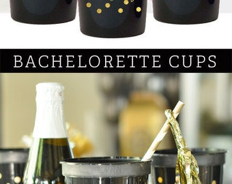 Bachelorette Party Decorations Bachelorette Party Cups Black and Gold Cheers Cups Elegant Bachelorette Party (EB3104) -set of 25 CHEERS CUPS