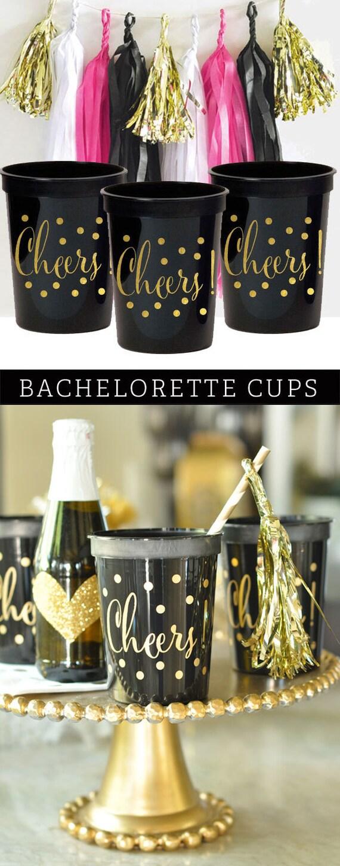 Bachelorette party decorations bachelorette party cups black for Bachelor party decoration