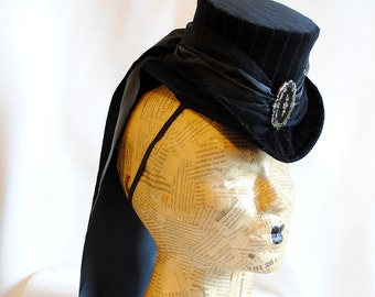 Gothic Riding Hat in Black, Victorian Striped Mini Top Hat with Train-Custom-Made to Order