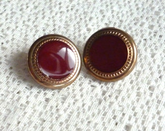 """18 mm 0.70"""" Set of 2 Vintage French Buttons - Gold & Red Metal Buttons"""